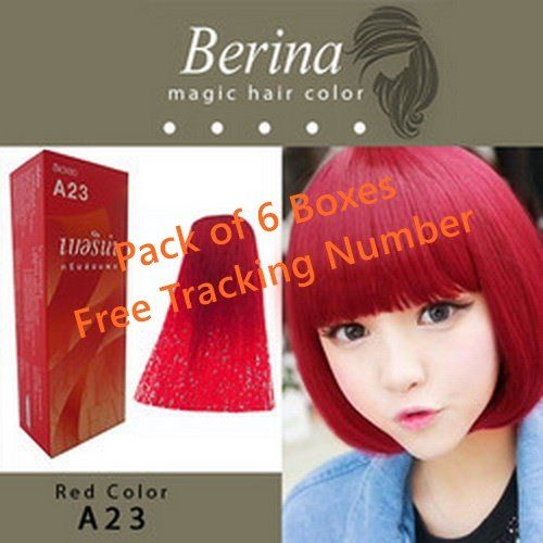 Pack of 6 Boxes Berina A23 Bright Red Hair Dye Color Cream 60 G. Super Permanent Fashion Unisex containing an innovative component which protects and provides glamor color to hair as desired ** Visit the image link for more details. #hairmake