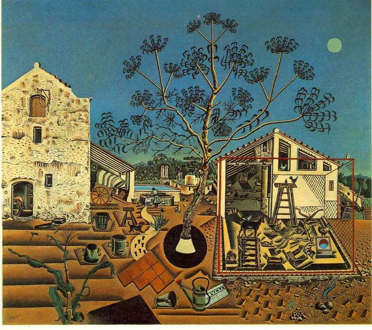 """Joan Miro - """"The Farm"""" aka """"La Masia"""" 1921-1922, National Gallery of Art, Washington, D.C.  It is a kind of inventory of the farmhouse owned by his family since 1911 in the town of Mont-roig del Camp. Miró himself regarded this work as a key in his career, describing it as """"a summary of my entire life in the countryside"""" and """"the summary of one period of my work, but also the point of departure for what was to follow."""" It was donated by Mary Hemingway from the estate of Ernest Hemingway."""