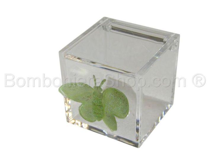 Cubo in plexiglass con applicazione farfalla gialla