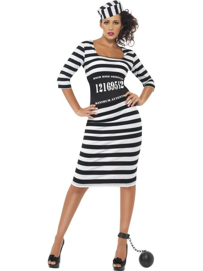 Ladies Convict Prisoner Costume Womens Robber Jailbird Adults Fancy Dress Outfit