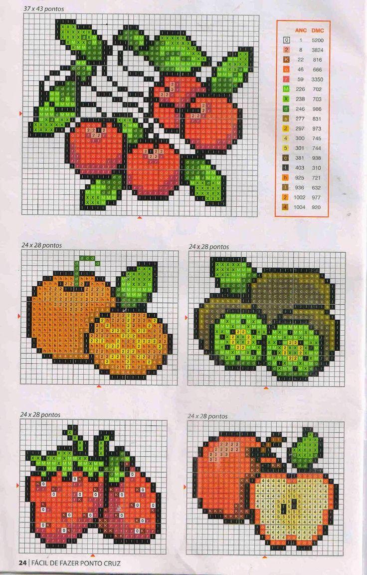 **Blog Amor Perfeito** Gráficos de ponto cruz: Frutas, Verduras e legumes …