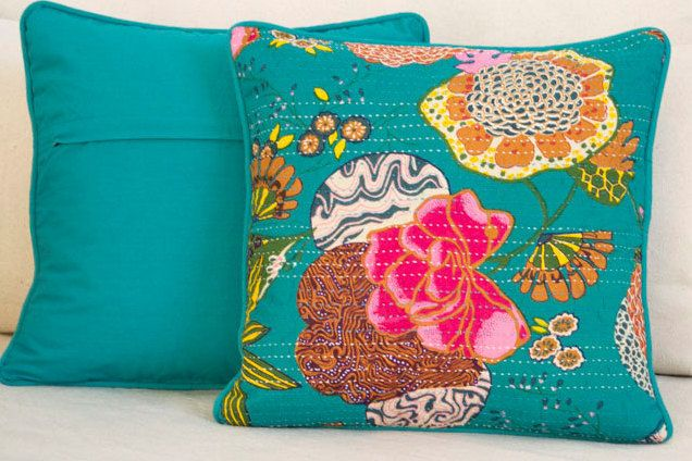 """Flower Pillow Case Decorative Pillows Cotton Throw Pillow Beige Kantha Pillow Turquoise Cushion Kantha Embroidery Pillow 16"""" x 16"""" Flower Pillow Case Decorative Pillows Cotton Throw Pillow Beige Kantha Pillow Turquoise Cushion Kantha Embroidery 16 x 16 Colorful Pillow Case Home Accessories Printed Cotton Gift for Her Gifts for Mom Interior Design 24.00 EUR #goriani"""