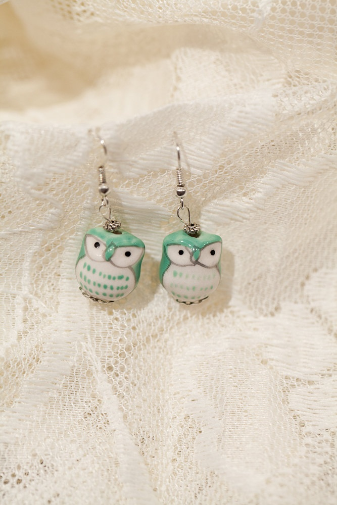 Green Ceramic Owl Earrings @Hope Meadows I take it from owl stuff always pinned on here that you might like these if you haven't seen them already.
