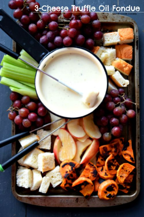3-Cheese Truffle Oil Fondue & Tips To Assemble A Rocking Fondue! This Restaurant style fondue will be the star your party! NaiveCookCooks.com