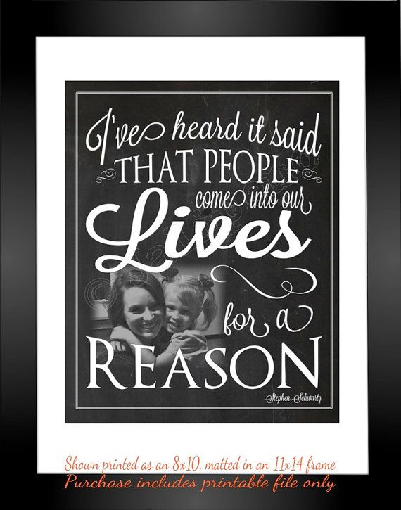 """""""I've heard it said that people come into our lives for a reason"""" - """"For Good"""" lyrics from the Broadway musical Wicked - Printable Personalized CUSTOM Photo Wall Art by Jalipeno. It's the perfect, personalized gift for a teacher, professor, dance teacher, coach, bridesmaid, co-worker, best friend, boss, assistant, etc. and for so many occasions - retirement, thank you, moving away, graduation, end of season, etc. Check the shop for lots  more Wicked quotes!"""