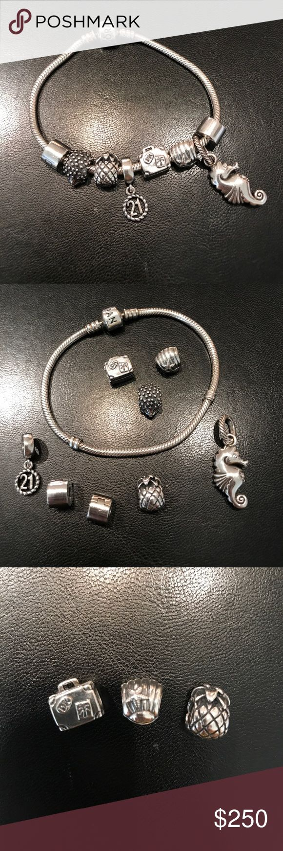 """AUTHENTIC PANDORA Iconic Sterling Silver Bracelet Authentic Pandora Iconic Original Charm Bracelet! Has been worn quite a few times but had been cleaned with the Sterling silver cleaning cloth and has been cleaned in store. The Bracelet itself is size 7.5"""". Selling as a whole set! Comes with two plain spacers, and five authentic Pandora charms plus one Brighton seahorse charm. ALL are 925 Sterling Silver. Also comes with an authentic Pandora cleaning cloth! Please let me know if you have any…"""