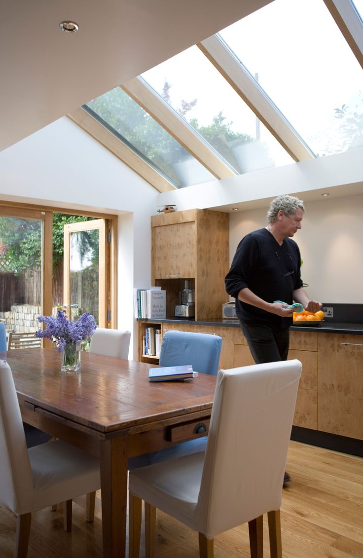 You won't regret installing plenty of roof windows in your extension. Plenty of daylight will cheer your room and lower your energy bills.