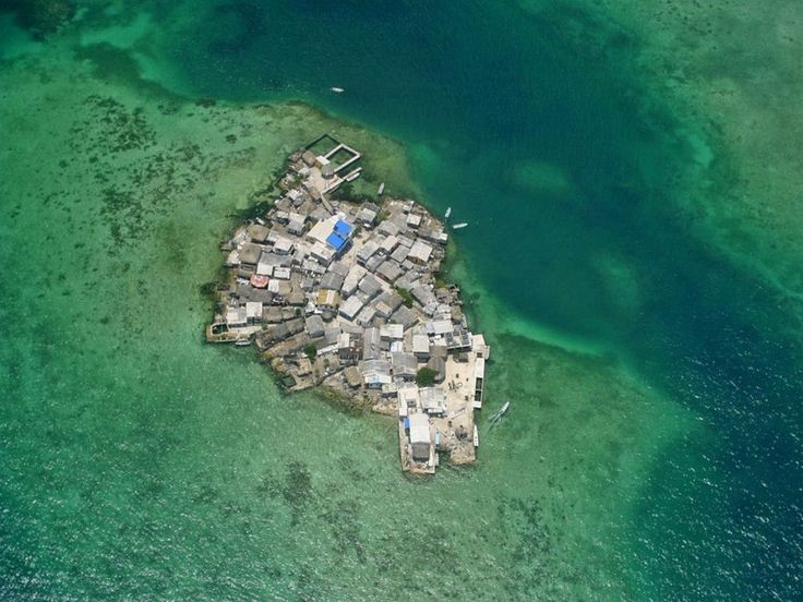 Colombia's Santa Cruz del Islote is the world's most crowded island. It has no electrcity, but plenty of people. It is so densely populated that people have to walk through each other's kitchen to get from one place to another