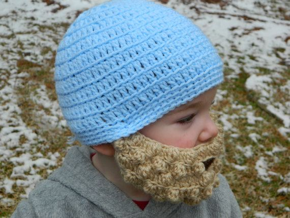 Crocheted Lumberjack Beard Baby Infant Toddler by MiniToppers