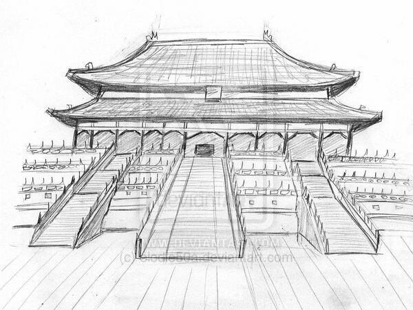 Chinese Pagoda City Drawing Pencil