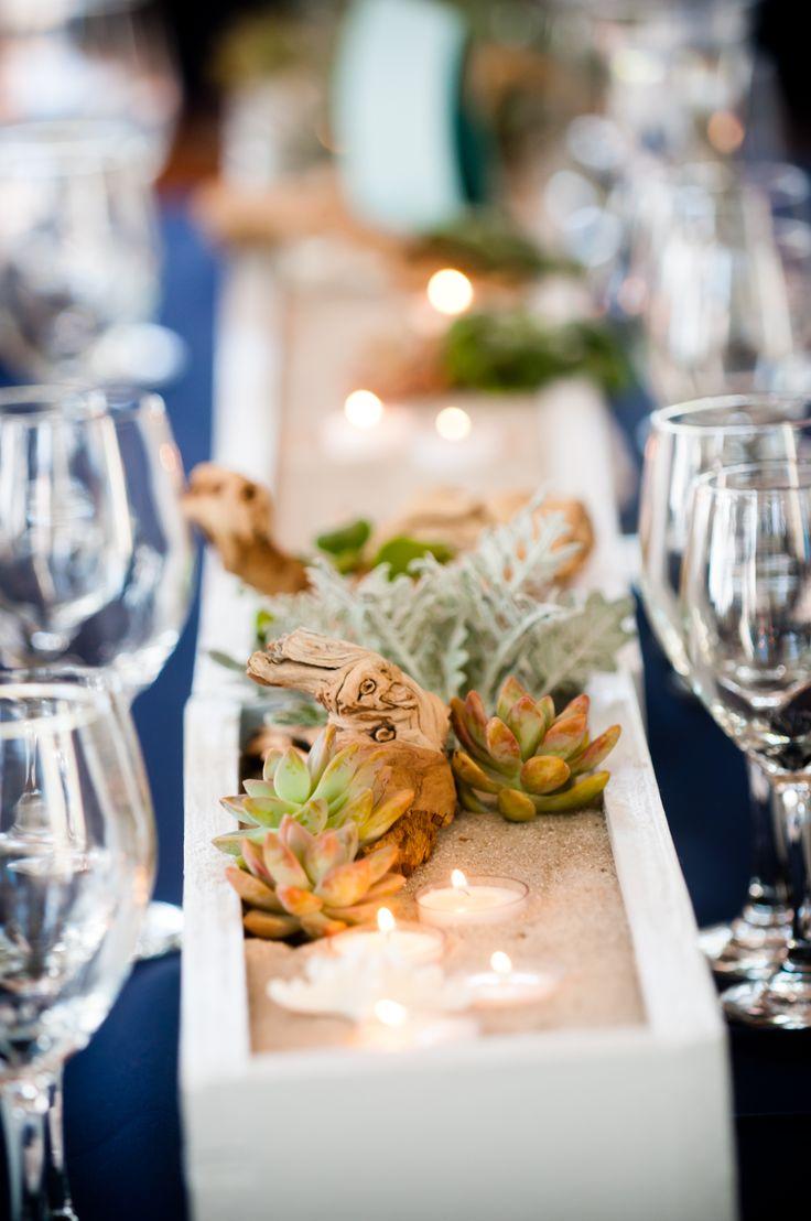 Wedding table centerpieces long rectangular boxes painted for Long table centerpieces
