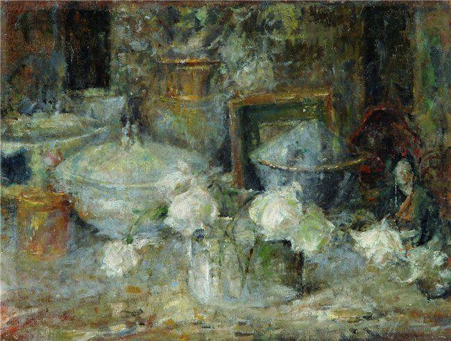 Olga Boznanska (Krakov 1865 - Paris 1940) -   Martwa natura z białymi różami i japońską laleczką (1918)