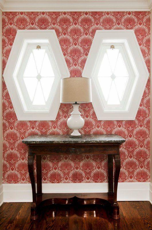 hexagon windows + wallpapered entry