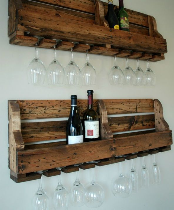 Creative Wine Storage Furniture for Your Home: DIY Pallet Wine Bottle And Glasses Wall Rack ~ SQUAR ESTATE Furniture Inspiration