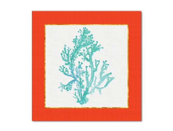 Turquoise Orange Wall Art Teal Coral by BeachHouseGallery on Etsy,