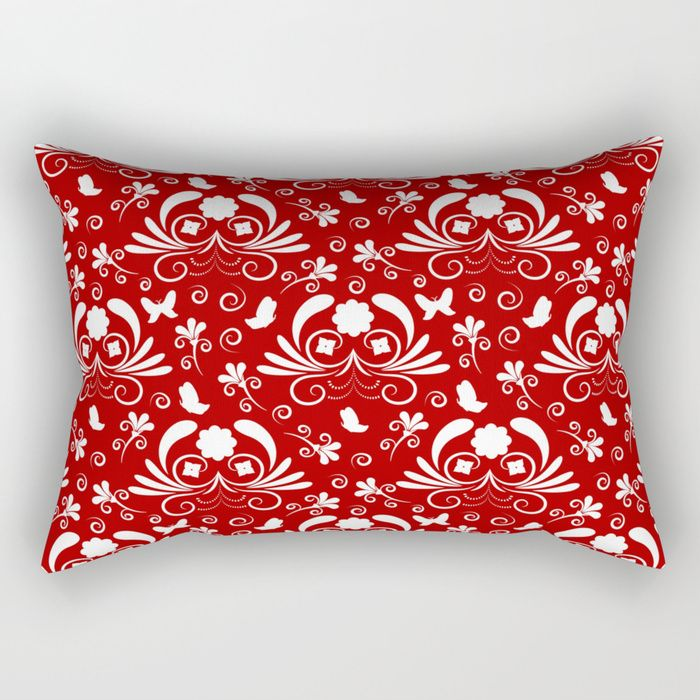 Abstract floral red, white Rectangular Pillow