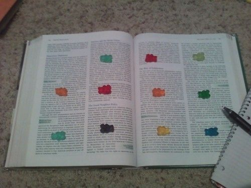 """""""When taking notes for classes, do this. When you reach a gummybear, eat it. MOTIVATION UNLOCKED."""""""