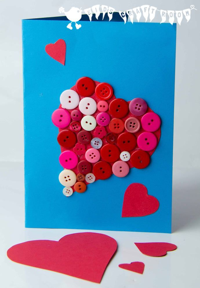 BUTTON HEARTS an easy kids craft