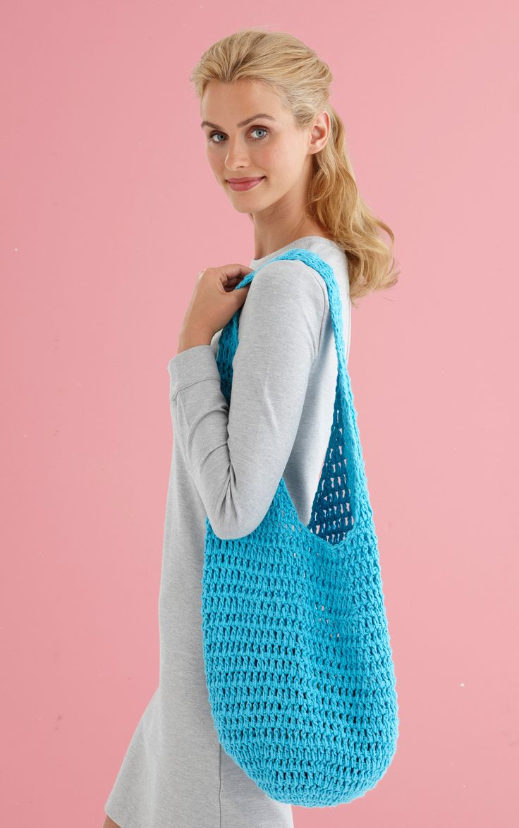 Tote your produce in style with this simple and stylish mesh hobo bag. Worked in one piece in double crochet, this pattern is simple, stylish, and requires no seaming. Make it now with Lion Brand Kitchen Cotton and save 20% for a limited time!