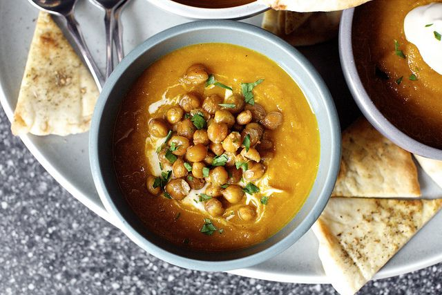 220 cals per serving (sans chickpeas) carrot soup with tahini and crisped chickpeas