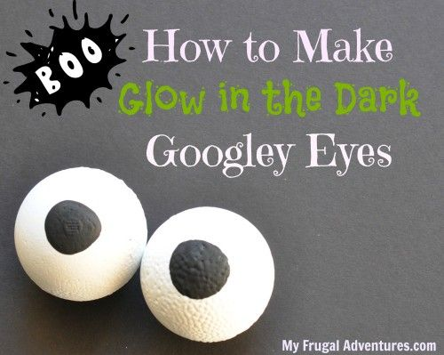 How to make glow in the dark googley eyes for Halloween.  There are so simple and so fun in plants, bushes, or glue them right on your pumpkin!  My kids giggle every time they walk past these.
