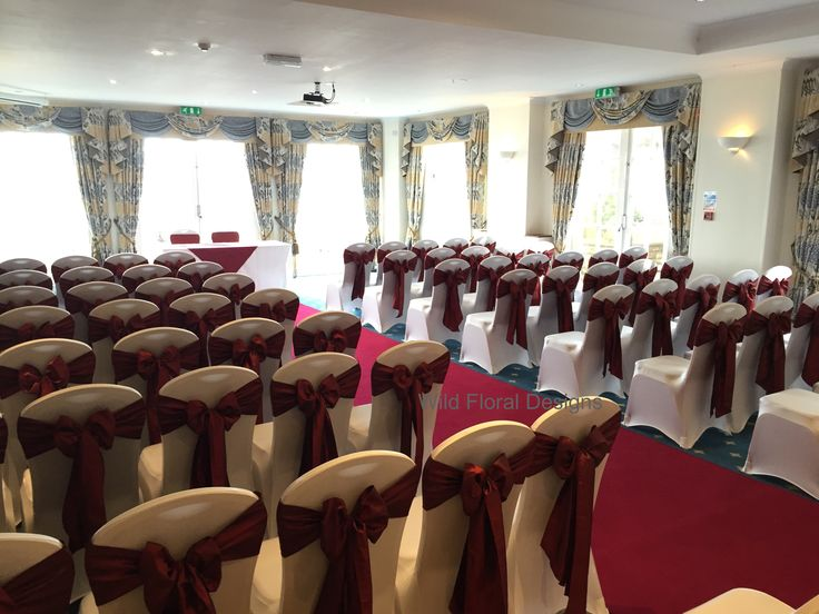 Berry head hotel Brixham wedding, High quailty perfect fit white chair covers, with luxuary burgundy Taffeta sashes