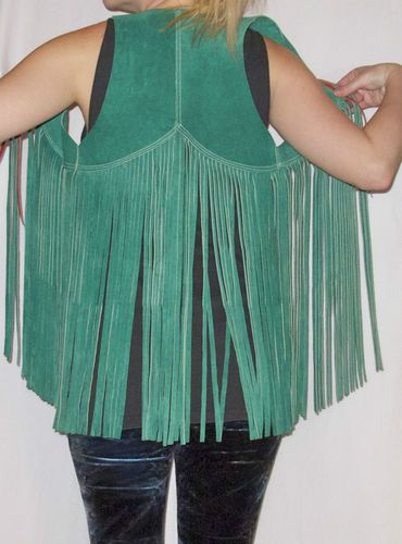 Vtg 70s Turquoise Suede Fringe Vest Boho Leather Hippie Festival Jacket gilet