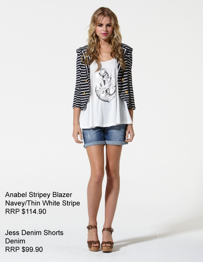 Have you got your nautical piece yet?  Annabel Stripey Blazer now In-Store at FInesse Boutique!