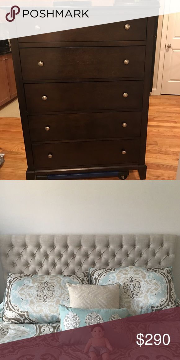 Furniture PC for Sale - Dresser and Tufted Hdboard I'm selling these two items on my DePop Store. If you are interested and/or have an account feel free to let me know. The tufted queen size headboard is selling for $90 and 5 drawer dresser for $200 (prices are negotiable). Buyer must be able to pick up items from Nutley, NJ location. Please note the dresser has a crack on the back right hand. There are minor scuffs and scratch on exterior. Otherwise durable & good condition. Other