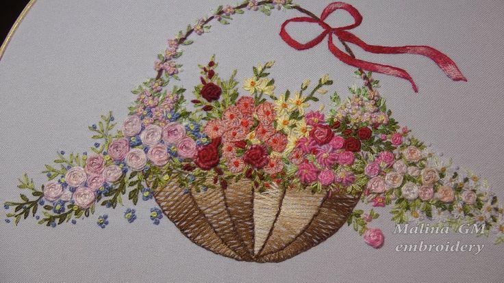 ЦВЕТОЧНАЯ ВЫШИВКА ( РОЗЫ )  \   Hand Embroidery: Flower stitch (ROSES)