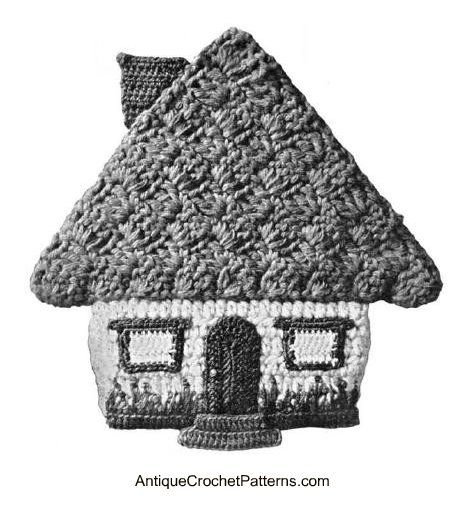 Honeymoon Cottage Potholder - this free crochet potholder pattern was originally published in the 1950s.