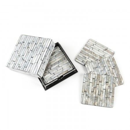 Grey Pearl Coaster Set @ CherryTin.com  Classy gift box coaster set with grey mother of pearl design work is a great online gift option for a housewarming or wedding.