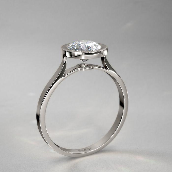 Exceptional Bezel Set Round Diamond Engagement Ring In 14k White