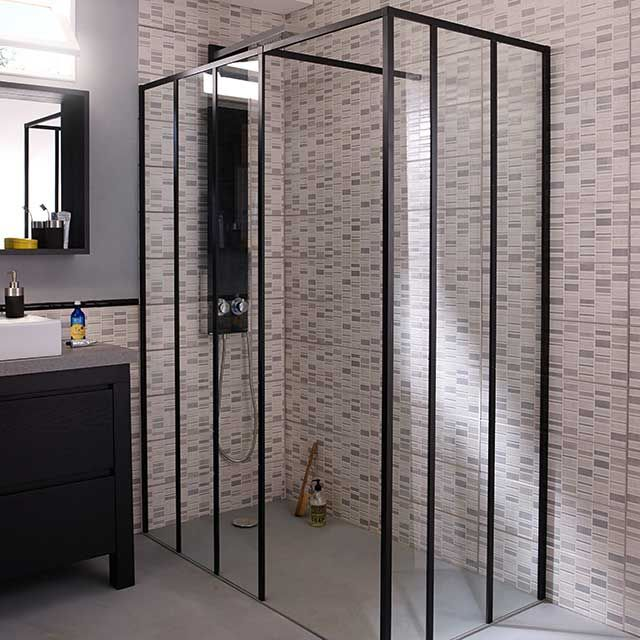 paroi de douche fixe 90 cm retour 80 cm noir zenne. Black Bedroom Furniture Sets. Home Design Ideas