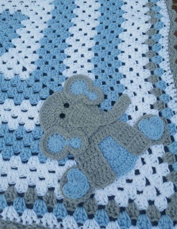 Sitting Elephant Blue And White Baby Blanket Crochet Baby Etsy Baby Boy Crochet Blanket Baby Blanket Crochet Crochet Baby