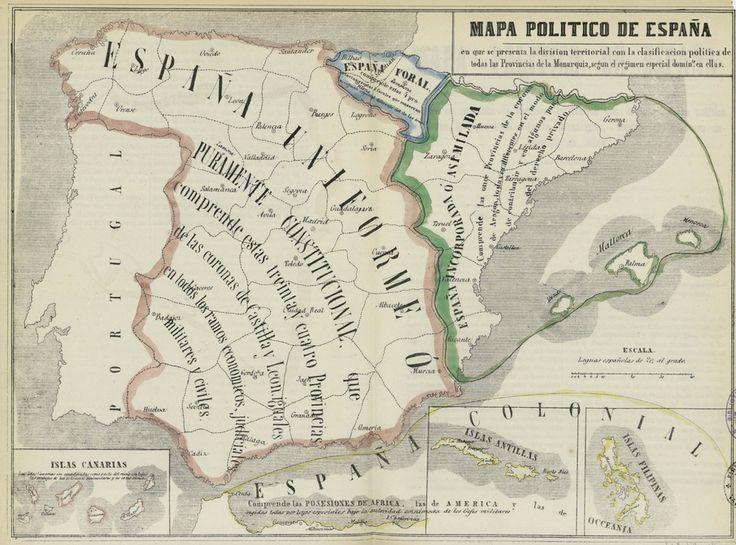 Mapa político de España con la clasificación política de todas las provincias  según el régimen especial dominante en ellas. José María Alonso, 1852. Fuente.