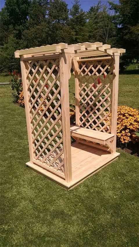 Pine 4' Jamesport Amish Arbor with Deck and Bench