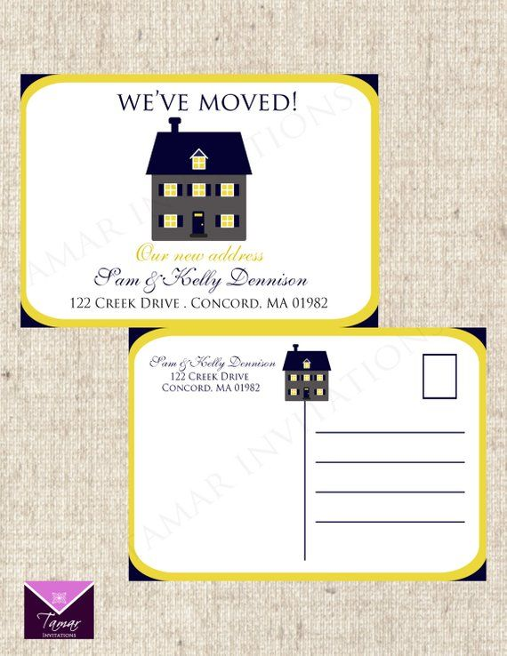 Printable We Have Moved Change Of Address Postcards Etsy In 2021 Change Of Address Postcard Template Address Label Template