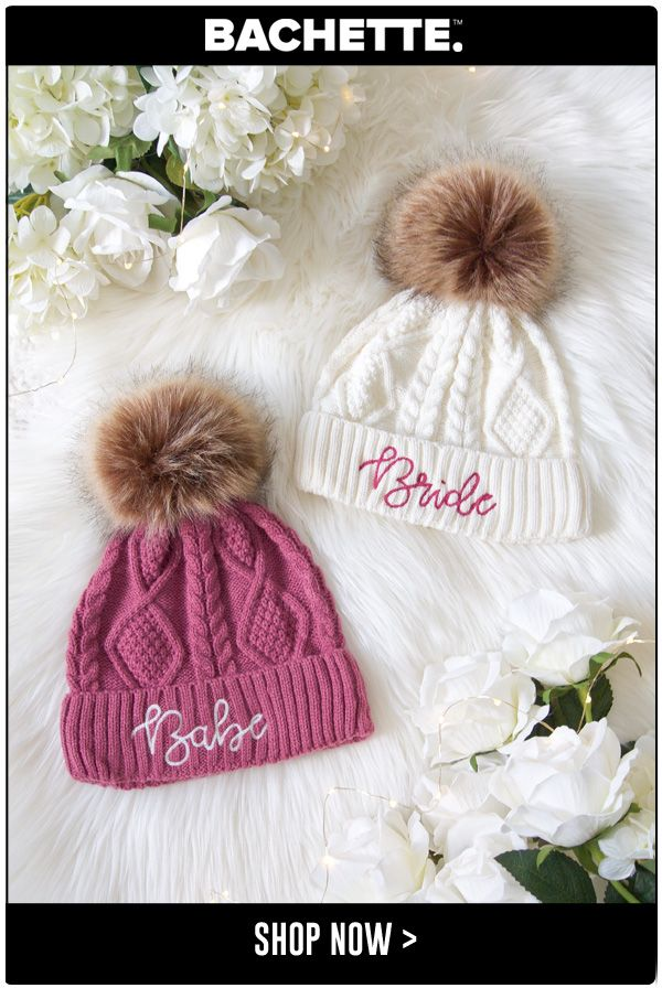 Weekend In The Woods Flannel Fling Flannels And Fizz Winter Bachelorette Brides Babes Hats Bride Beanie Pom Pom Beanies
