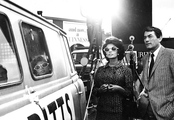 Sophia Loren and Gregory Peck on the set of Arabesque, 1966.