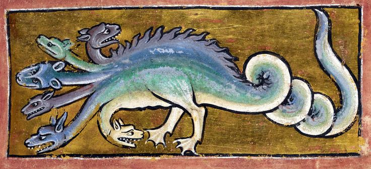 HIDRA: Serpiente monstruosa de tres, cinco, nueve hasta cien, e incluso diez mil cabezas que vuelven a surgir a medida que se le cortan, figura los múltiples vicios triviales. Si el monstruo, la vanidad, no es dominado, los vicios representados por las cabezas, nunca serán extirpados.Bestiary, England ca. 1200-1210. British Library, Royal 12 C XIX, fol. 13r