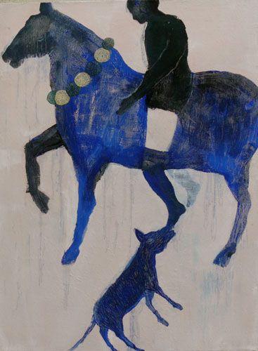 More equine art & inspiration www.StajniaSztuki.pl Alexandra Duprez, Cavalier bleu, 2011 - Huile sur toile - 105x143 cm
