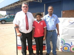 November 7, 2012 was a big day to the Cashbuild group after securing and opening bigger premises in the Mothibistad based branch. The new premises was officially opened by the Cashbuild Operations Manager from Bloemfontein Mr Crous de Beer and the Store Manager's Choice Award winner, Boniswa Kgaje, a learner from Bogare Primary school in the presence of other top officials within the company, other dignitaries, area ward councillor Neo Morogong, different stakeholders and schools