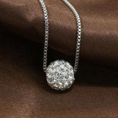 Rustic Charm CZ Round Ball Silver Tone Pendant on Chain FREE SHIPPING