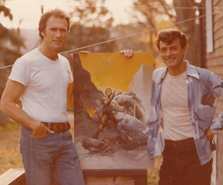 Frank Frazetta and Clint Eastwood.  Photo by Russ Cochran  They're standing outside because one room cannot contain that much badass.