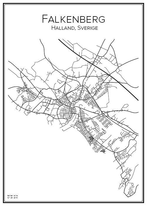 Handritad affisch över staden Falkenberg i Halland. Här kan du beställa stadskarta över din stad och andra svenska samt utländska städer.