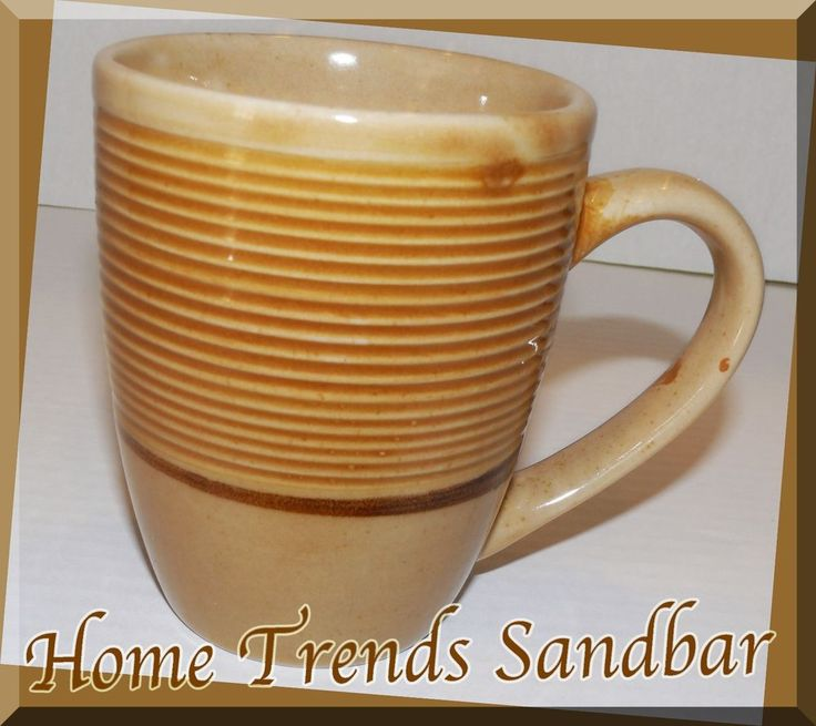 Home trends Sandbar Ribbed band tan speckled coffee cup mug classic Replacement  | eBay