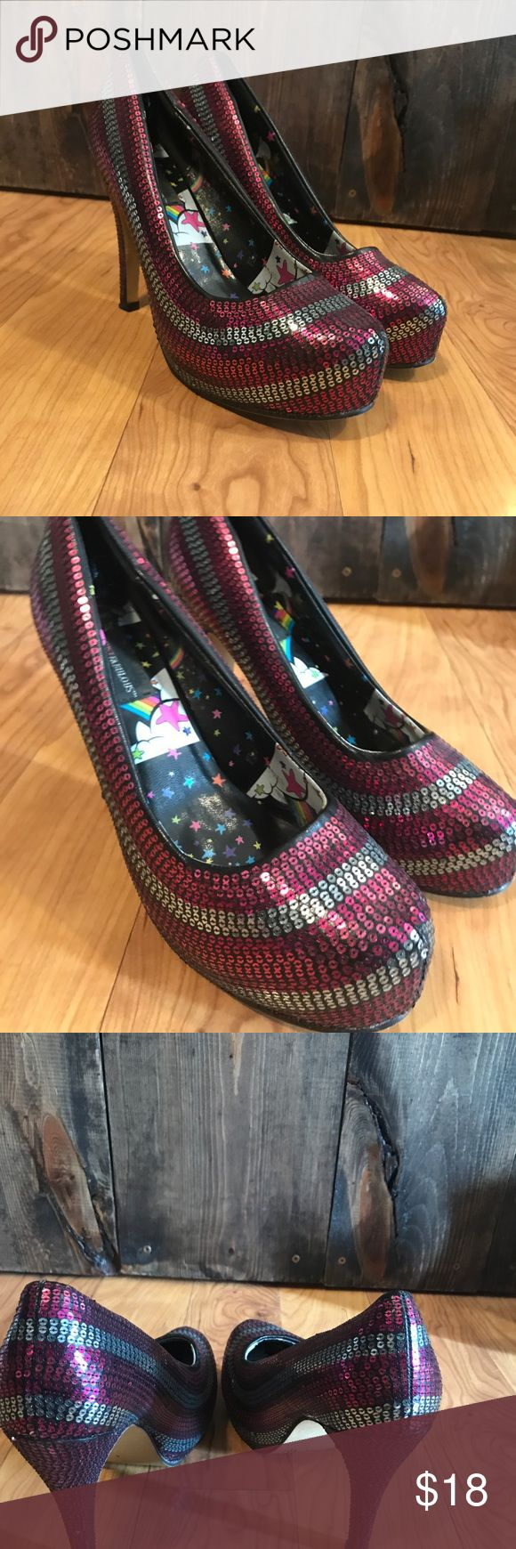💥GUC-Iron Fist Sequins Striped Platform Heels 💥GUC-Iron Fist Sequins Striped Platform Heels  These do show some signs of wear. Some Sequins is loose/missing very difficult to see when wearing.  Please see photos. Make an offer!  Fuchsia/silver color Iron Fist Shoes Platforms