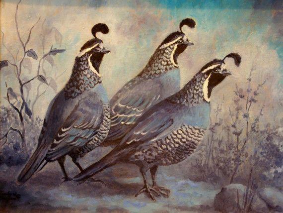 Original Oil Painting - California Quail - The Blues ...