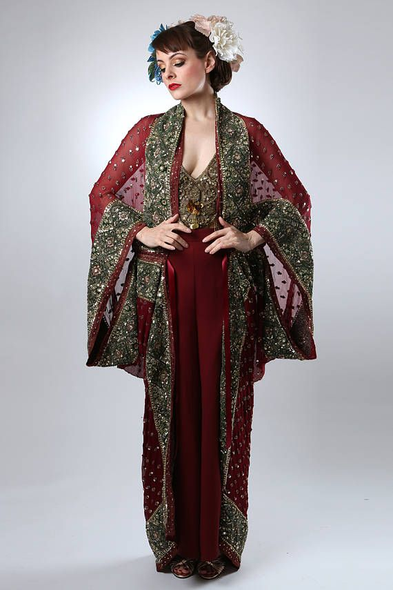 Red Embellished 1920's Style Gown